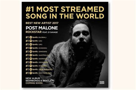Post Malone's 'Rockstar' reaches one across the world