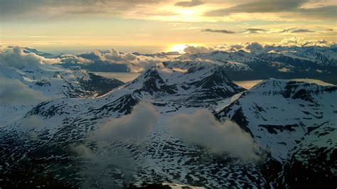 View from the plane coming in to land at Tromsø Airport